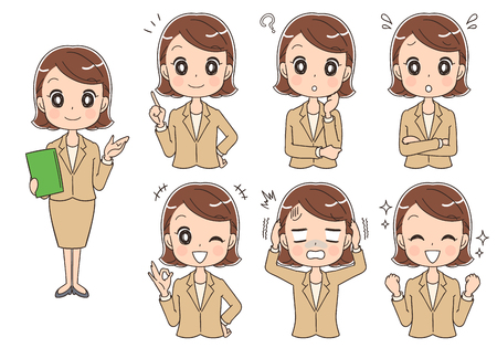 A set of different expressions of woman wearing a suit