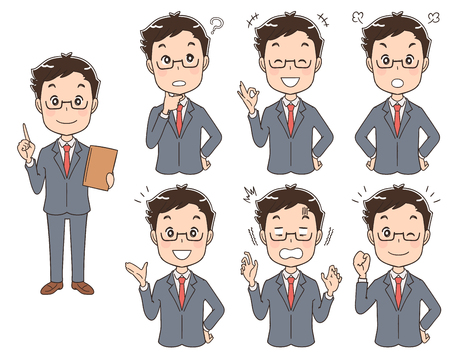 A set of different expressions of man wearing a suit