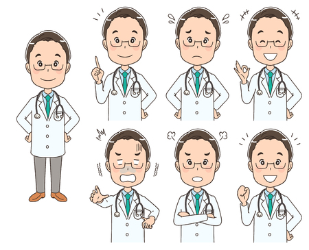 Male doctor with various expressions Stock Illustratie