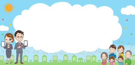 The background image and mobile families and staff Illustration