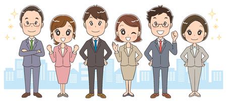 ビジネスの人々 とビジネスの女性のチーム。オフィス街で