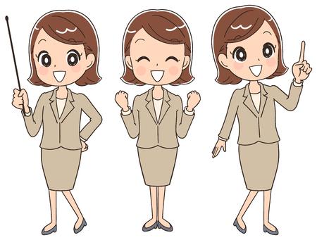 ビジネスの女性は、様々 なポーズをやっています。