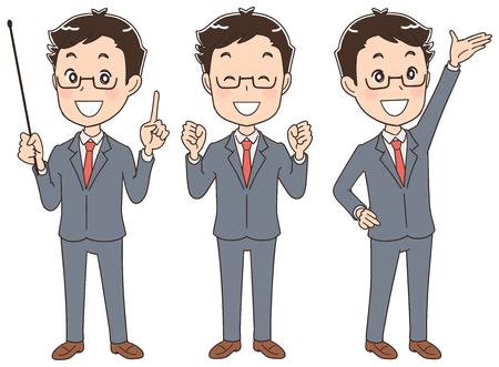 Gli uomini d'affari stanno presentando diverse pose