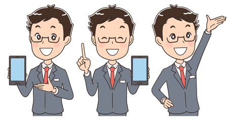 smartphone business: Male staff with a smartphone various poses Illustration