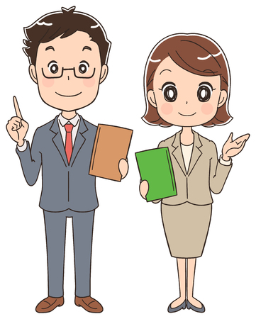 asian business meeting: Business men and women have papers Illustration