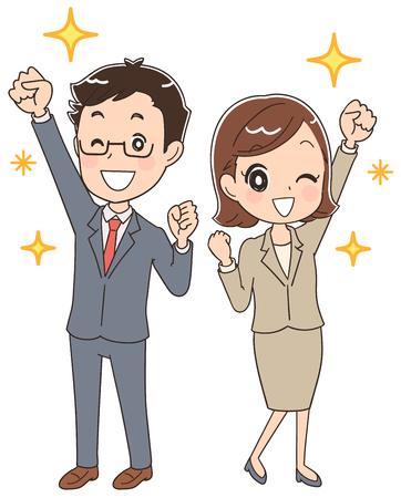 ビジネスの男性と女性が協力してください。  イラスト・ベクター素材