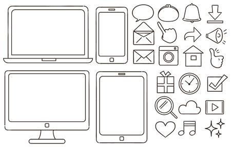 개인용 컴퓨터 및 스마트 폰과 관련된 아이콘 모음. 손으로 그린 것처럼 일러스트
