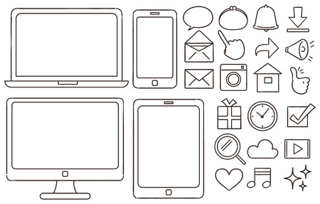 A collection of icons related to personal computers and smartphones. Like hand-drawn