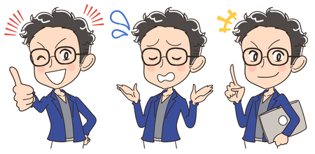 A young engineer has various facial expressions