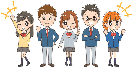 A group of Japanese high school students are enjoying themselves. Stock Illustratie