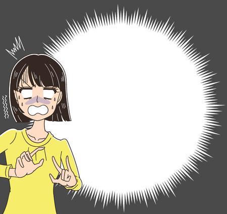 Women are shocked. A speech bubble like an explosion
