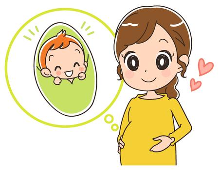 妊娠中の女性は幸せそうに見えます。