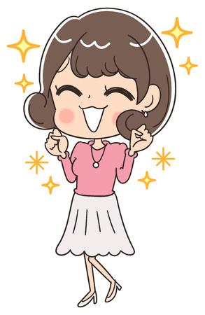 A cute girl is pleased Stock Illustratie