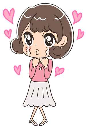 A cute woman is crying. With the hearts