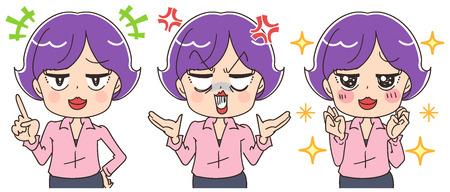 Business donna ha varie espressioni facciali