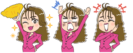 A woman with a fan has various facial expressions Illustration