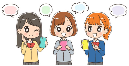 using smartphone: Japanese school girls are using a smartphone