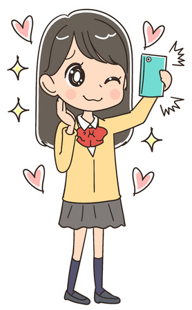 Japanese schoolgirl is taking a picture of herself