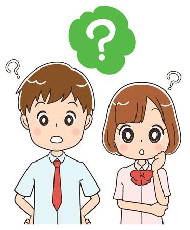 Japanese high school boys girls have doubts Illustration