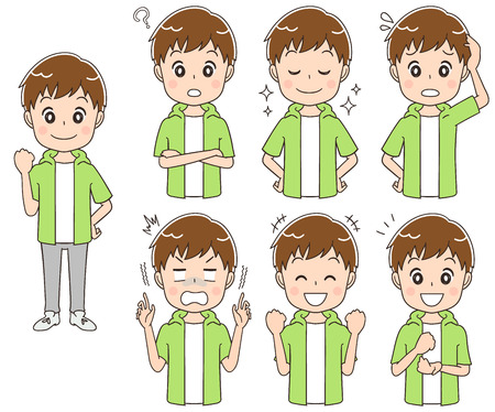 Teenage boy have different facial expressions