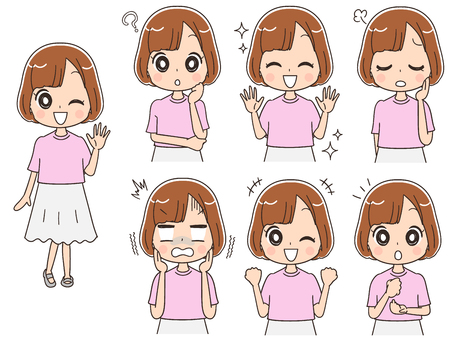 Teenage girl has different expressions