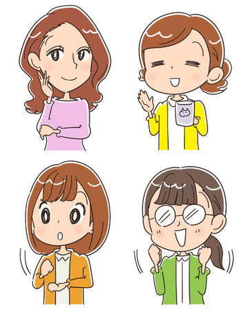 Group of 4 women on different mood of expression, cartoon illustration Çizim