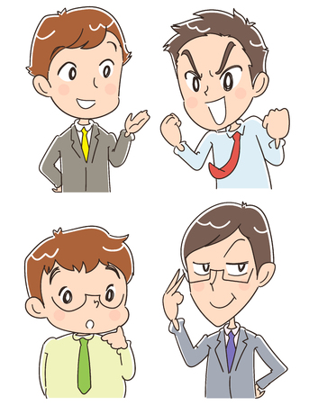 Group of 4 businessmen with different facial expression