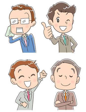 異なる表情の 4 のビジネスマンのグループ  イラスト・ベクター素材