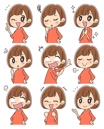 Collection of women with various facial expressions Vectores