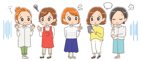 Illustration of different housewives.
