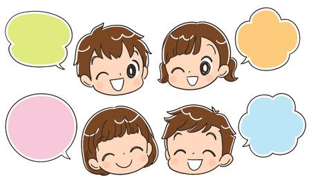 Iconos de cara de niño y burbujas de discurso