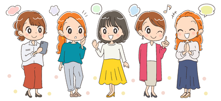 Fashionable female group of around 30 years old vector illustration Stock Illustratie