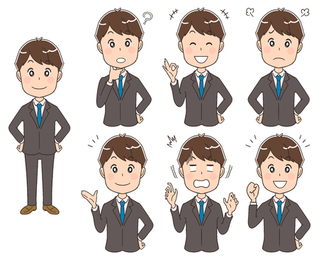 Businessmen with various expressions