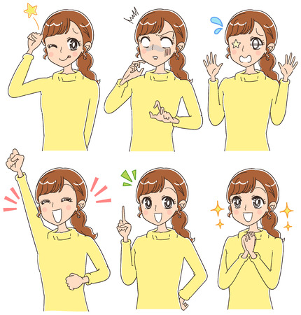 A woman with various expressions. Japanese anime style