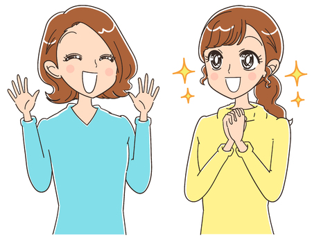 hopeful: Two women who looks happy. Japanese anime style