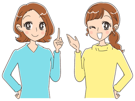 Two women. Japanese anime style