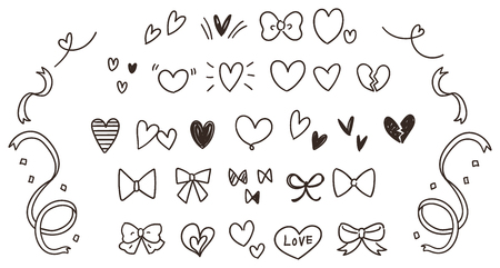 Collection of various heart and ribbon elements. Hand-drawn style
