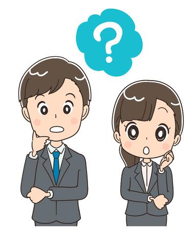 Giovani uomini e donne d'affari fanno domande.