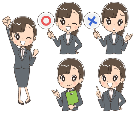 A collection of young business women who made various expressions.
