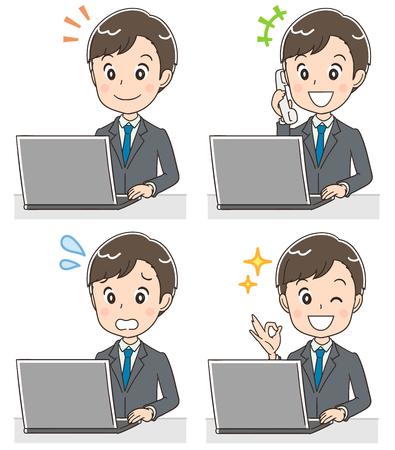 Een jonge zakenman gebruikt een personal computer. Vector Illustratie