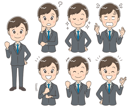 A collection of young businessmen with different expressions.