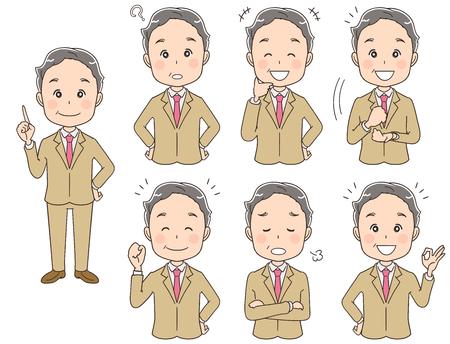 様々な表情を持つ年配のビジネスマンのコレクション。