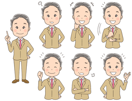 An elderly businessman's collection with various expressions.