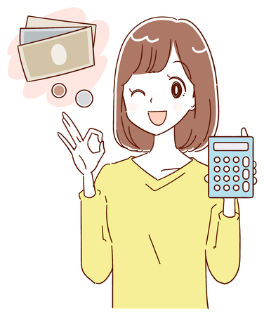 A young lady is planning about money illustration. Illustration