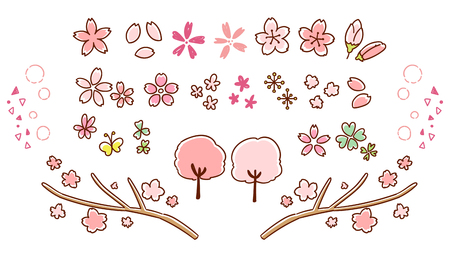 Cherry Blossom icon collection. By hand-painted style Illustration