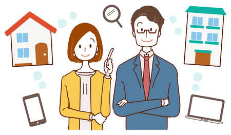 Businessman and businesswoman with a housing guide  イラスト・ベクター素材