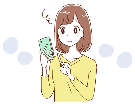 A young lady is having trouble using a smartphone