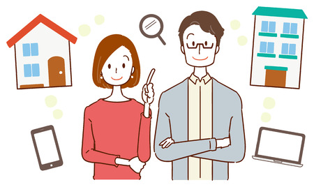 The couple plan to buy a house Illustration