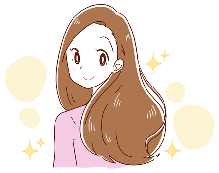 A woman has beautiful hair Vector illustration. Çizim