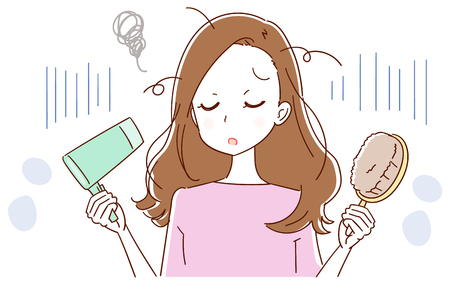 A woman is confused by hair trouble Vector illustration. Vectores